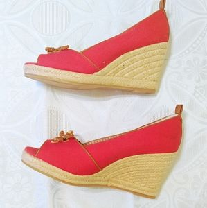 Bass Size 9 Peep Toe Red Wedges NWOT